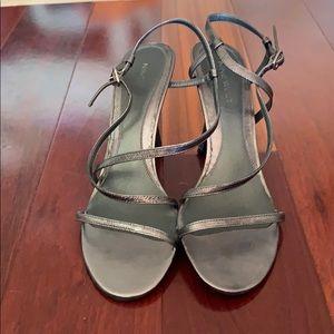 Nine West pewter sandals with heel